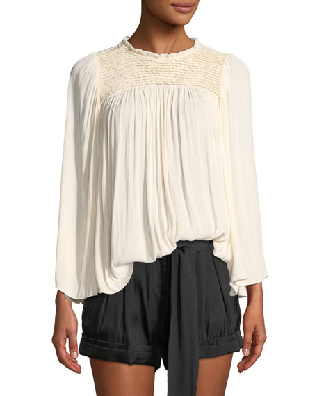 Halston Heritage Flowy Smocked-Neck Top