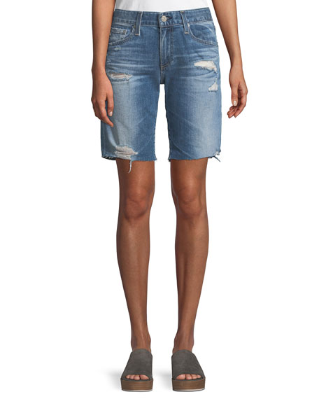 AG Nikki Distressed Relaxed Skinny Shorts