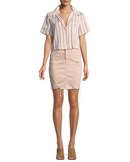 Erin Distressed Denim Skirt
