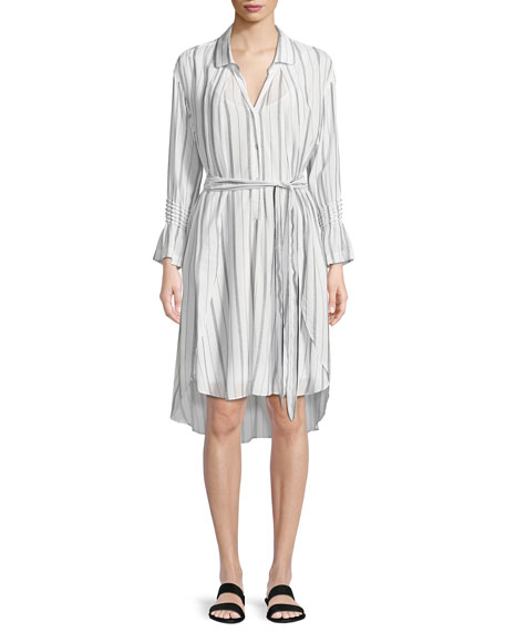Halston Heritage Striped Long-Sleeve Shirtdress
