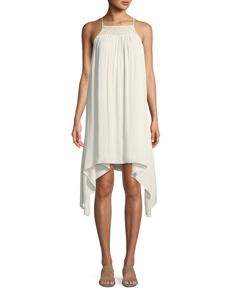 Halston Heritage Smocked High-Neck Sleeveless Dress