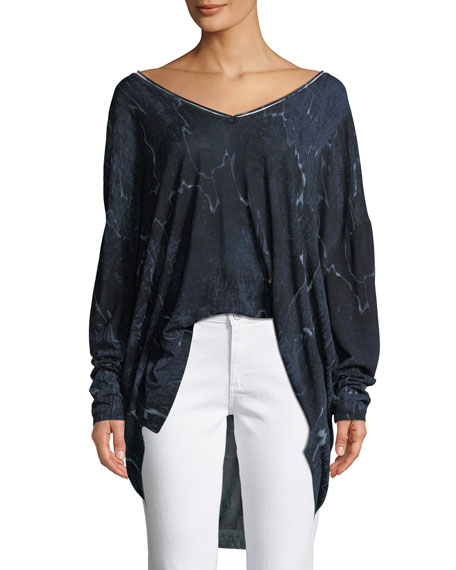 Halston Heritage Long-Sleeve V-Neck Printed Sweater