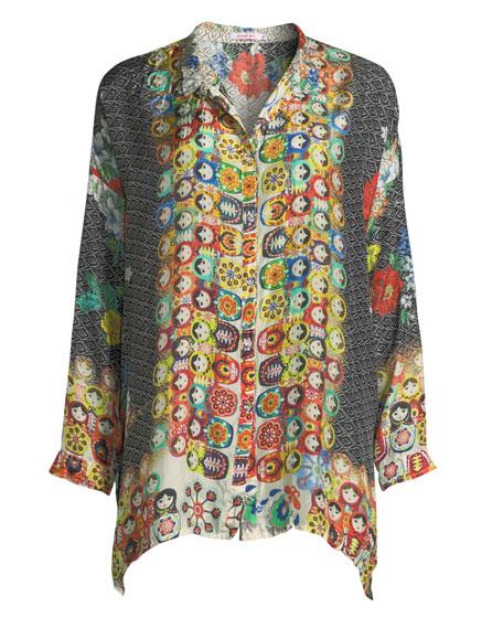 Babette Graphic-Print Button-Front Blouse