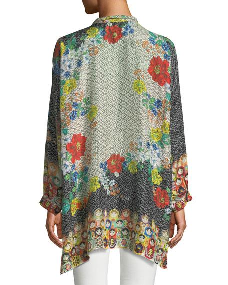 Plus Size Babette Graphic-Print Button-Front Blouse