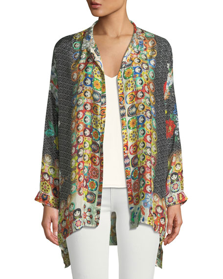 Babette Graphic-Print Button-Front Blouse, Plus Size
