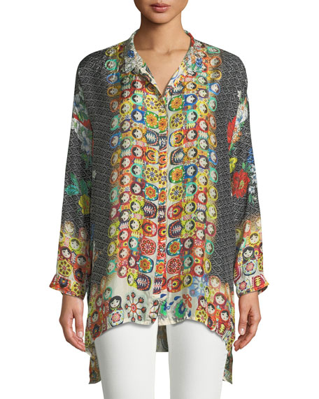 Johnny Was Babette Graphic-Print Button-Front Blouse, Plus Size