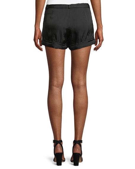 Solid Satin Tie-Waist Shorts