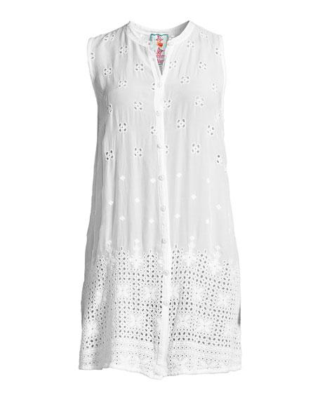 Darla Sleeveless Long Button-Front Tunic, Plus Size