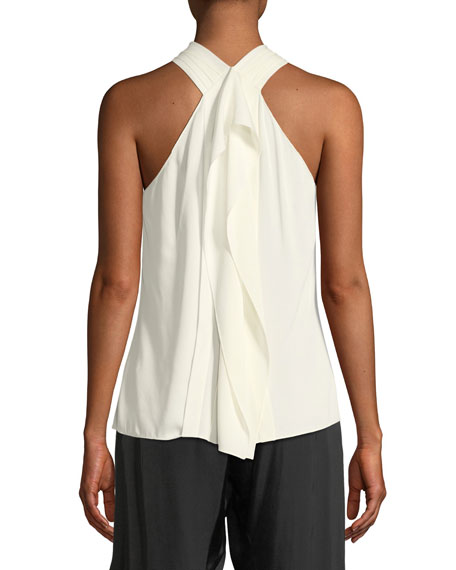 Sleeveless V-Neck Flowy Drape-Back Top