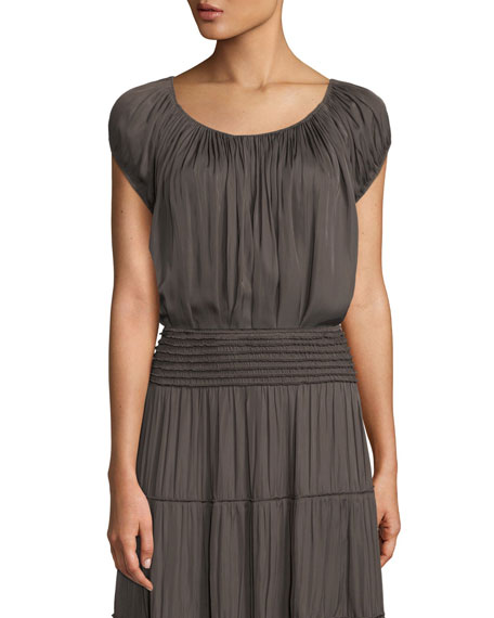 Halston Heritage Cap-Sleeve Ruched-Neck Top and Matching Items