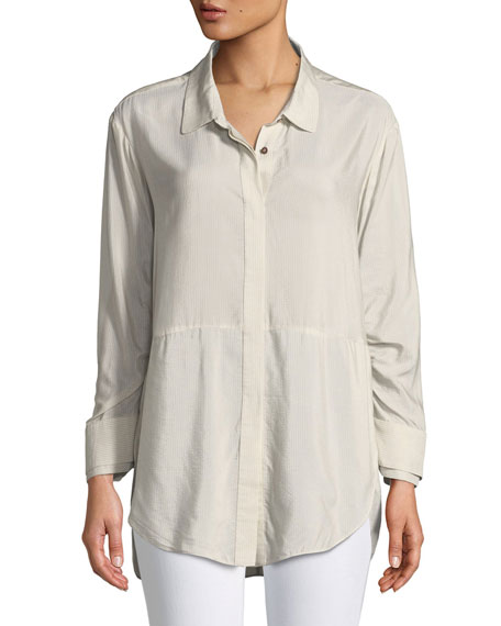 Halston Heritage Ruched-Sleeve Striped Shirt