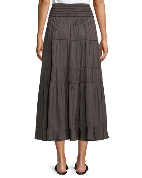 Smocked-Waist A-Line Midi Skirt