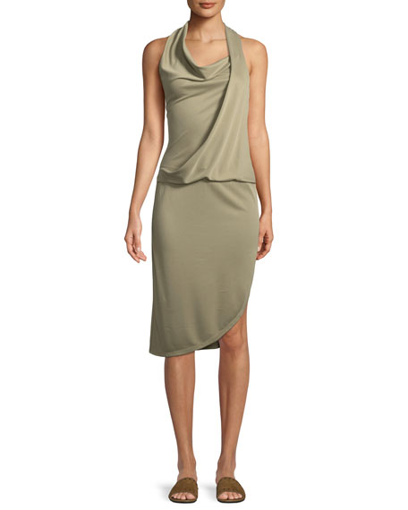 Halston Heritage Draped Cowl-Neck Sleeveless Jersey Dress