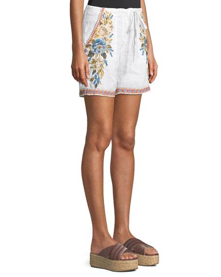 Hira Embroidered Linen Shorts