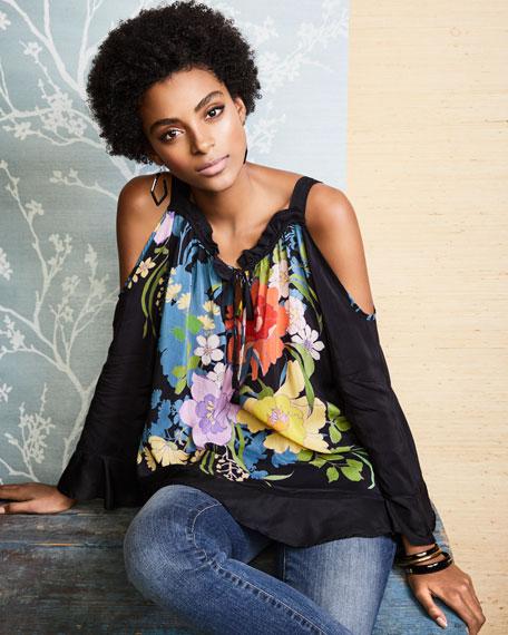 Fusion Cold-Shoulder Floral-Print Blouse