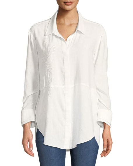 Ruched-Sleeve Embroidered Shirt