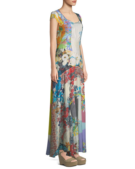 Patchwork Cotton Voile Maxi Dress