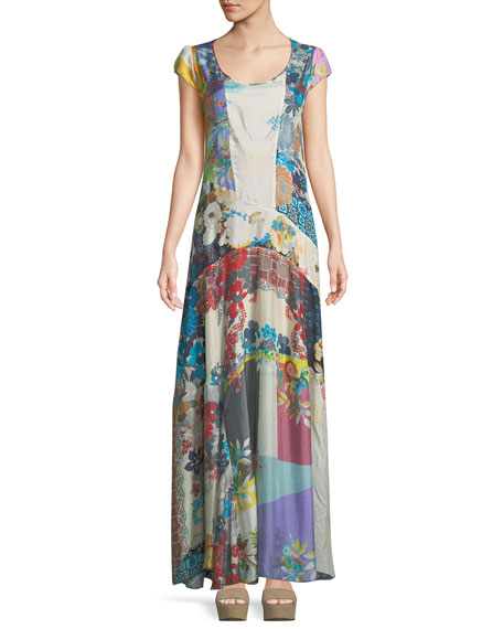 Johnny Was Patchwork Cotton Voile Maxi Dress
