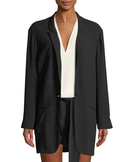 Halston Heritage Floral-Embroidered Crepe Georgette Jacket