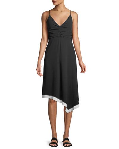 Ruched-Front V-Neck Colorblocked Dress
