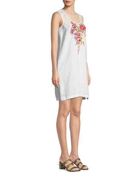 Adeline Sleeveless Side-Button Linen Tunic Dress
