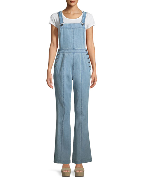 Cupcakes and Cashmere Melani Flared-Leg Denim Overalls Jumpsuit