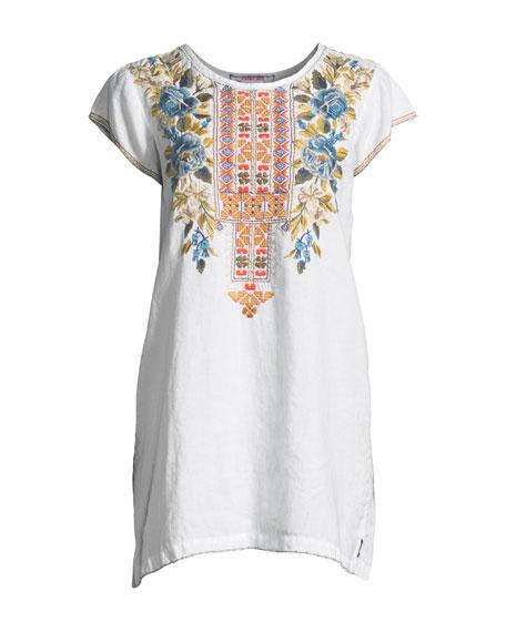 Hira Linen Peasant Tunic Dress