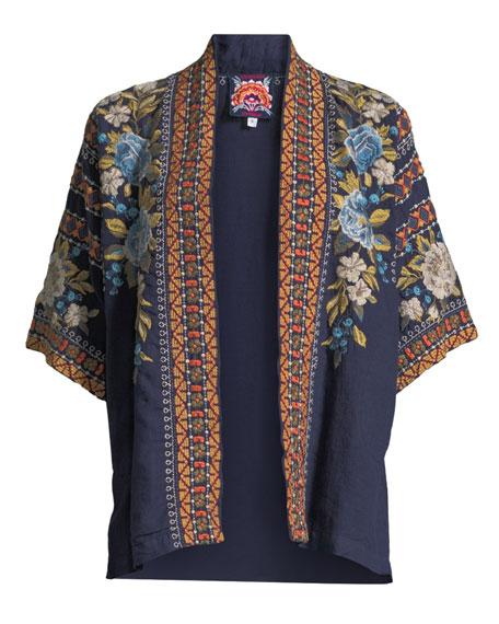 Hira Embroidered Linen Kimono