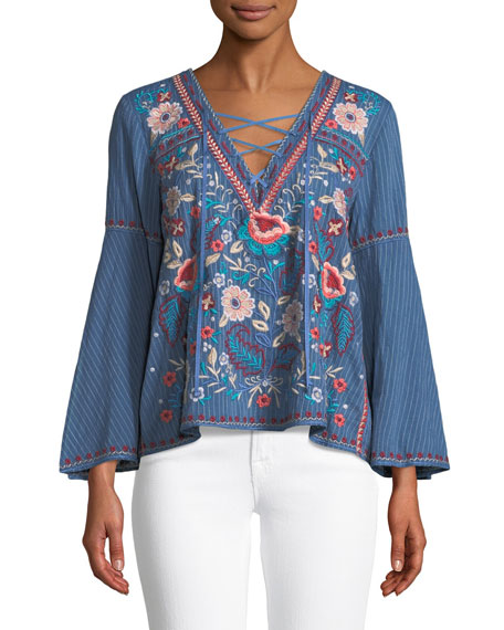 Johnny Was Oman Lace-Up Bell-Sleeve Swing Blouse