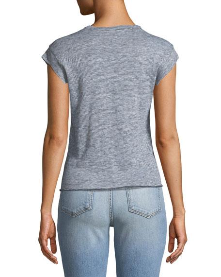 Batista Short-Sleeve Linen Tie-Front Top