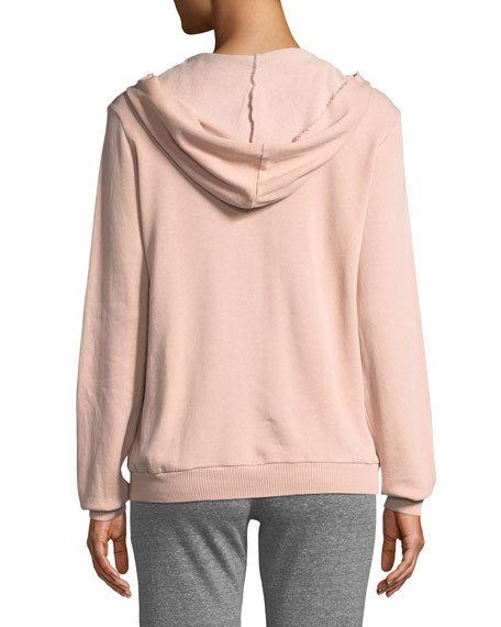 Slashed Long-Sleeve Hooded Sweatshirt