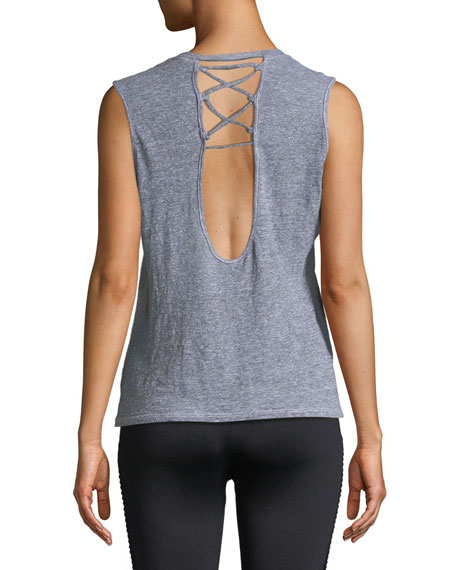 Sleeveless Lace-Up Cutout Tank Top
