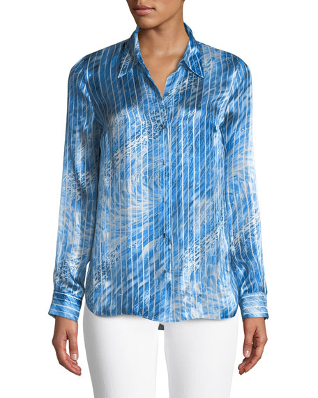 Martha Graphic-Striped Silk Blouse