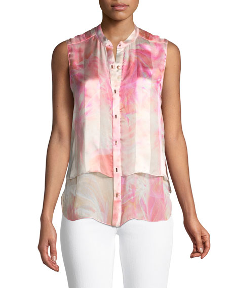 Eve Graphic-Print Silk Blouse