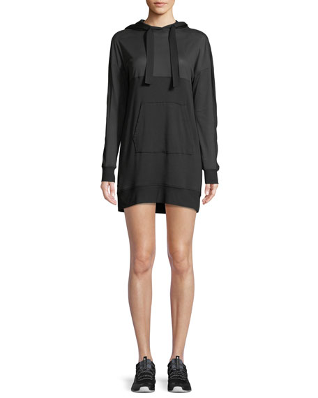 Range Long-Sleeve Hooded Mini Sweatshirt Dress