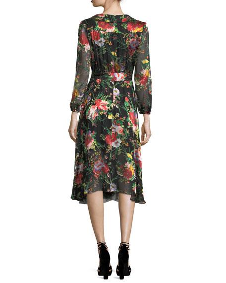 Abney V-Neck Floral-Print Wrap Shirtdress