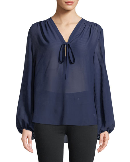 Bernetta Long-Sleeve Pebbled Seersucker Silk Blouse