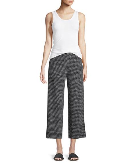 Straight-Leg Fluid Silk Box-Tile Crepe de Chine Cropped Pants