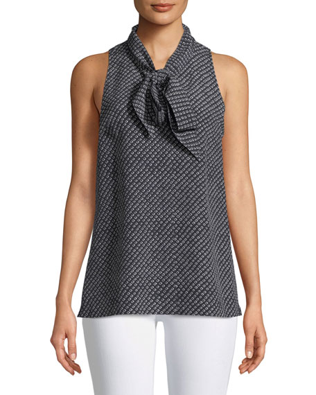 Sleeveless Box Tile Crepe de Chine Scarf Shirt
