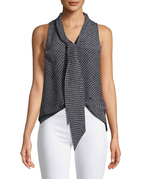 Theory Sleeveless Box Tile Crepe De Chine Scarf Shirt In Blue  f7ccf8e9d33
