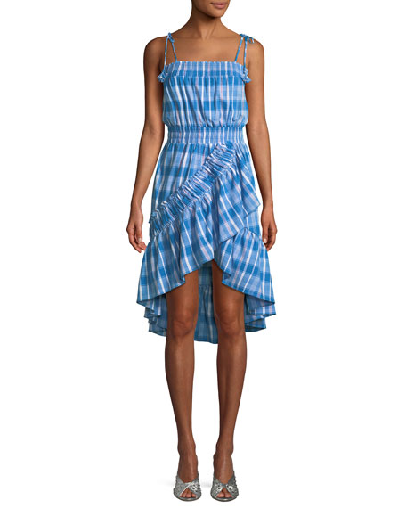 MISA Los Angeles Fernanda Check-Print Ruffled High-Low Dress
