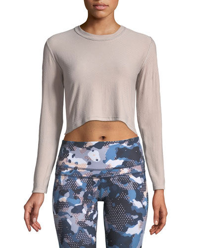 Raymond Crewneck Long-Sleeve Cross-Back Crop Performance Top