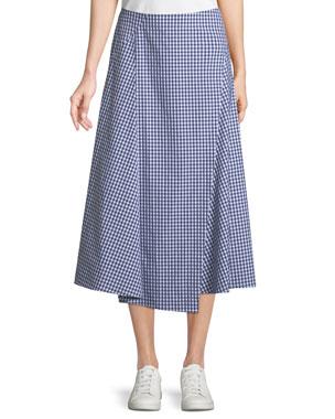 51e4267c6974 Theory Hartman Gingham Midi Cotton Placket Skirt