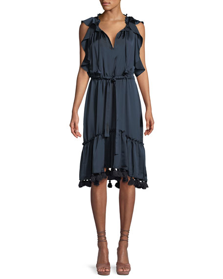 MISA Los Angeles Pillar Flounce Midi Dress