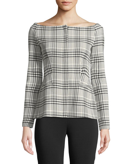Off-the-Shoulder Long-Sleeve Brea Check Jacket