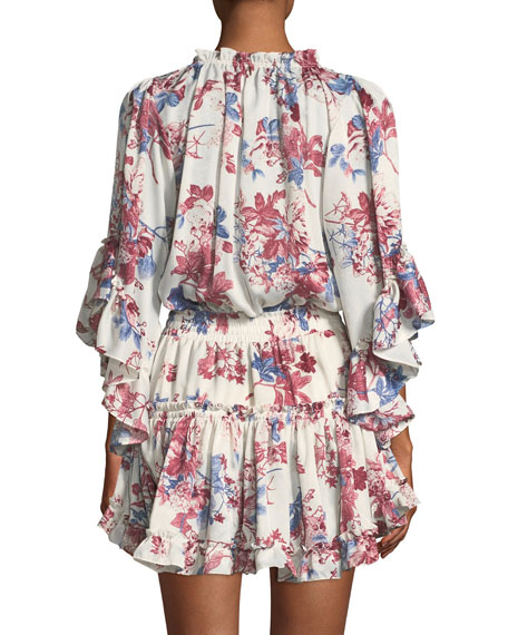 Cecile Split-Neck Floral-Printed Cap-Sleeve Dress
