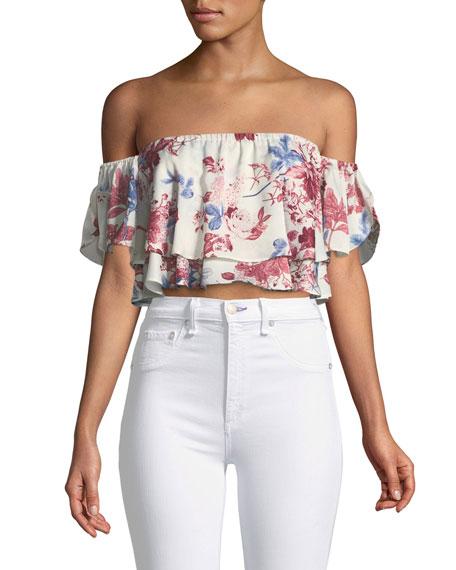 MISA Los Angeles Suvi Off-the-Shoulder Floral-Print Crop Top