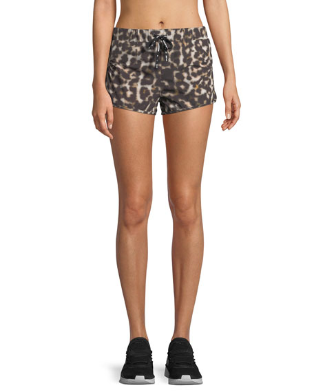 The Upside Leopard-Print Drawstring Running Shorts