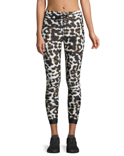 Leopard-Print Power Midi Leggings