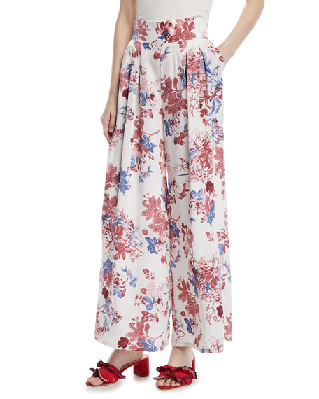 Sedona High-Waist Floral-Print Satin Pants